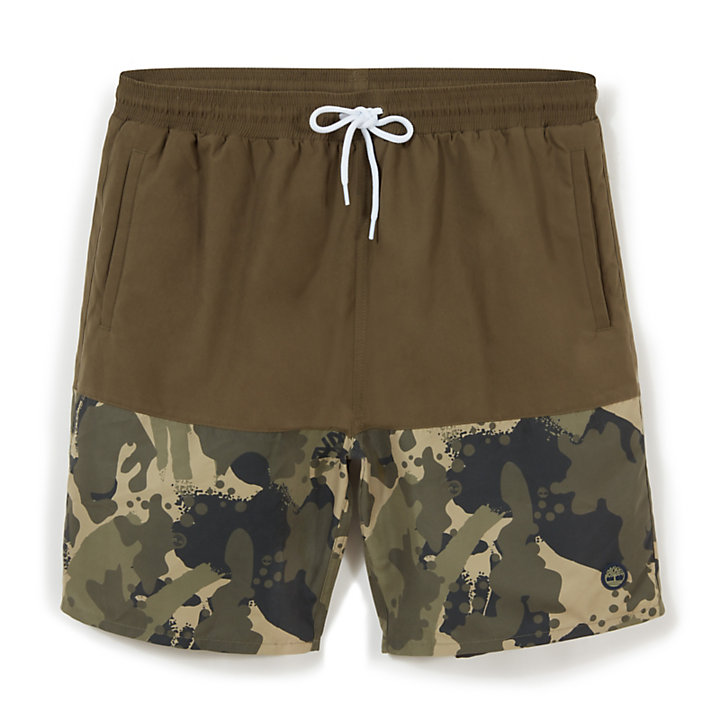 Sunapee Lake Print Leisure Shorts for Men in Green Camo-
