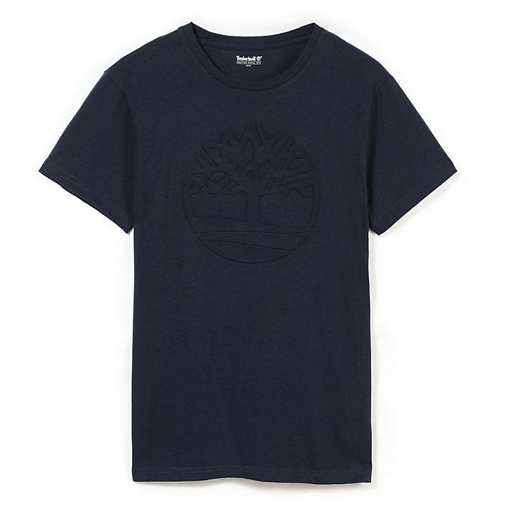 Kennebec River Embossed Tree T-shirt voor Heren in Marineblauw-