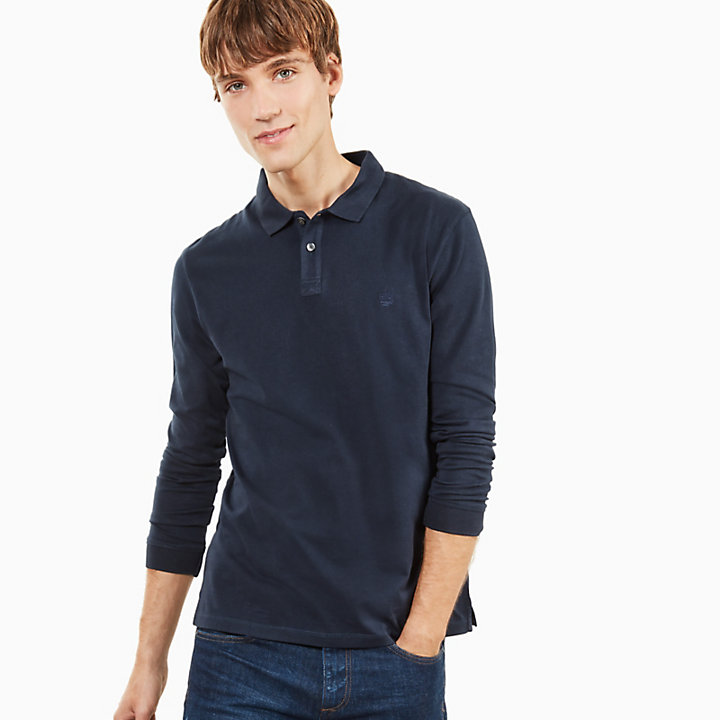 Cocheco River Supima® Cotton LS Polo Shirt for Men in Navy-