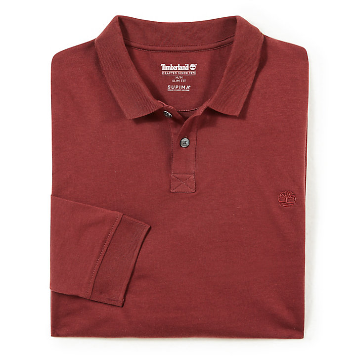 Cocheco River Supima® Cotton LS Polo Shirt for Men in Burgundy-