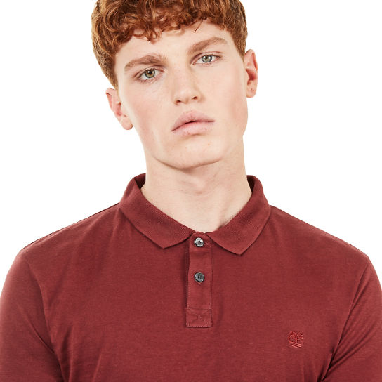 Cocheco River Supima® Cotton LS Polo Shirt for Men in Burgundy | Timberland