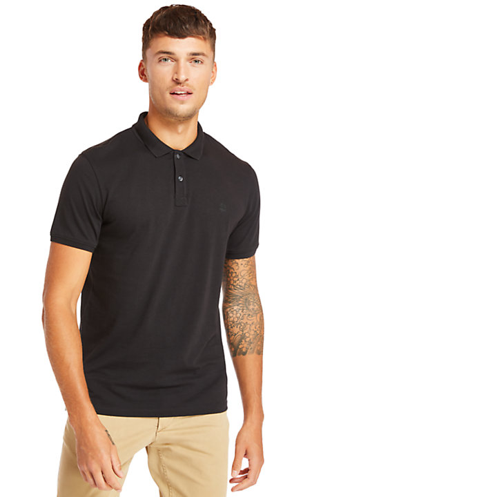 Cocheco River Supima® Cotton Polo for Men in Black-