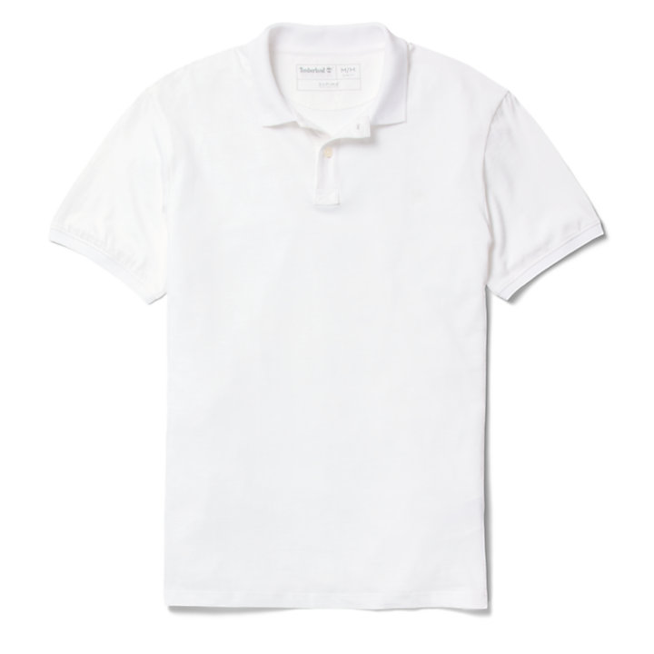 Cocheco River Supima® Cotton Polo for Men in White-
