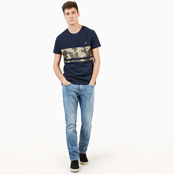 Kennebec River Print T-Shirt for Men in Navy-