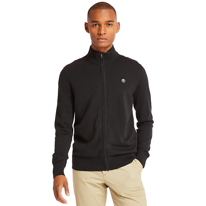 Williams River Zip Sweater for Men in Black-
