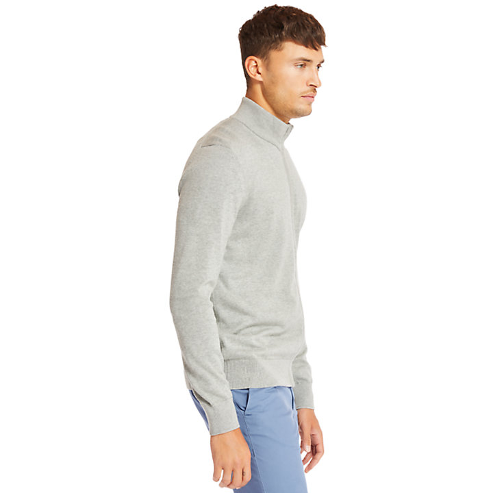 Williams River Cotton Zip Up Top for Men in Grey-