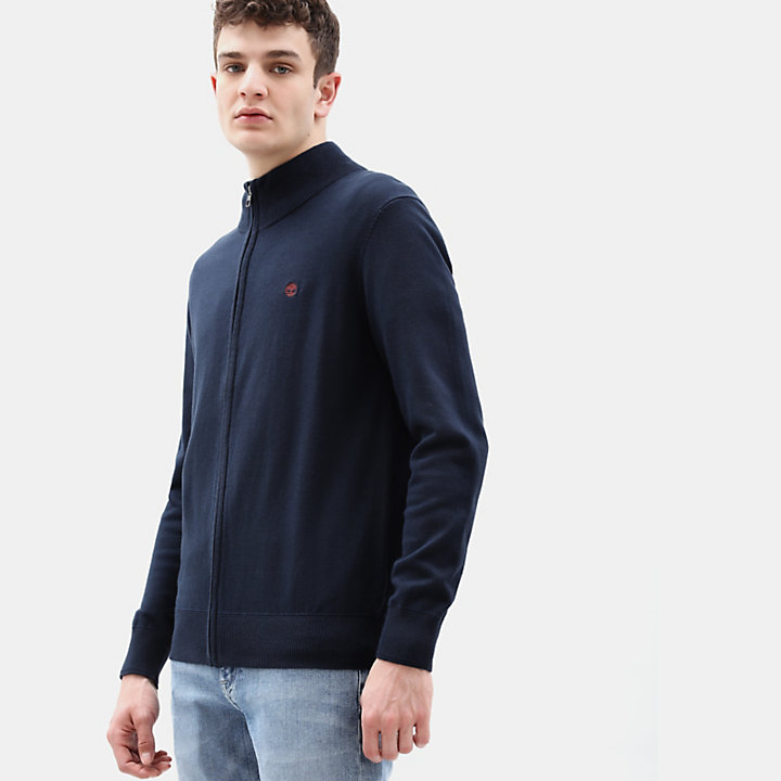 Williams River Cotton Zip Up Top for Men in Navy-