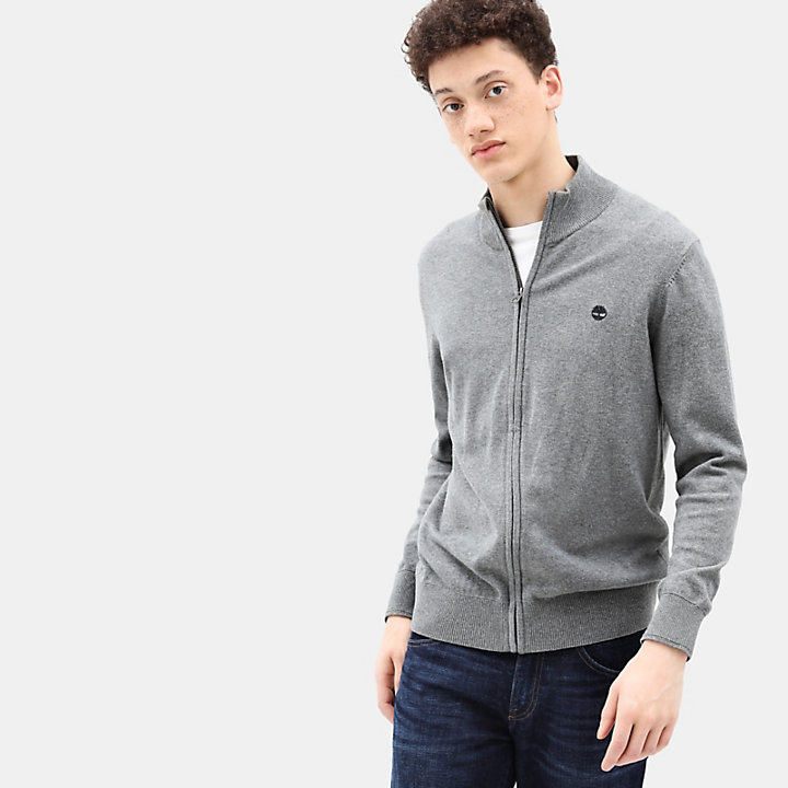Williams River Cotton Zip Up Top for Men in Dark Grey-