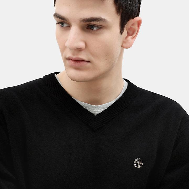 Merino V-Ausschnitt-Pullover für Herren in Schwarz-