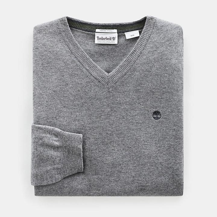 Merino V Neck Sweater for Men in Grey-