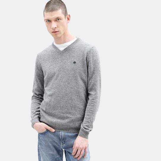 Jersey de Lana Merina con Cuello de Pico para Hombre en gris