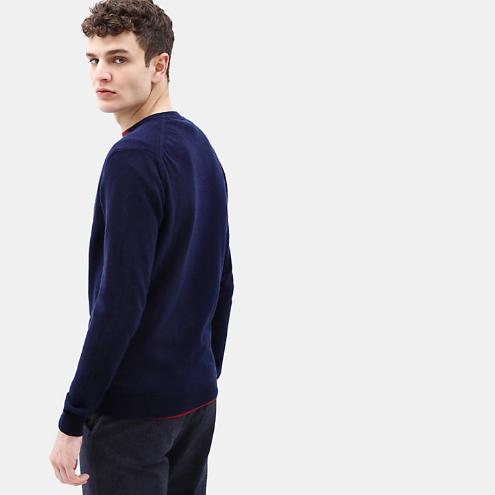 Merino V Neck Sweater for Men in Navy-