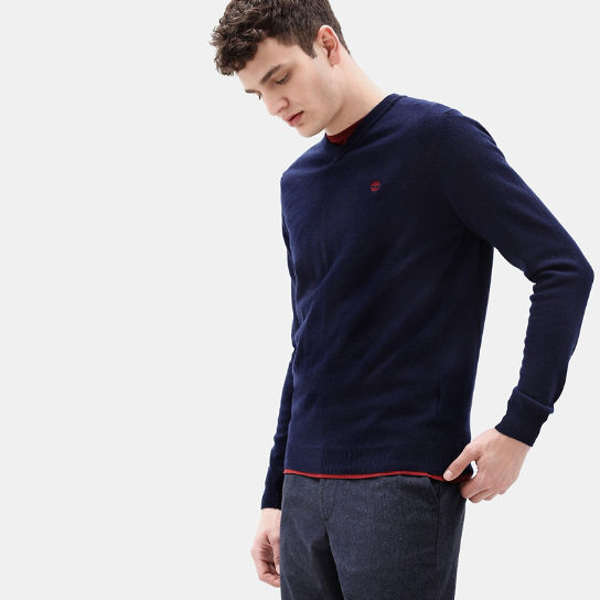 Merino V Neck Sweater for Men in Navy | Timberland