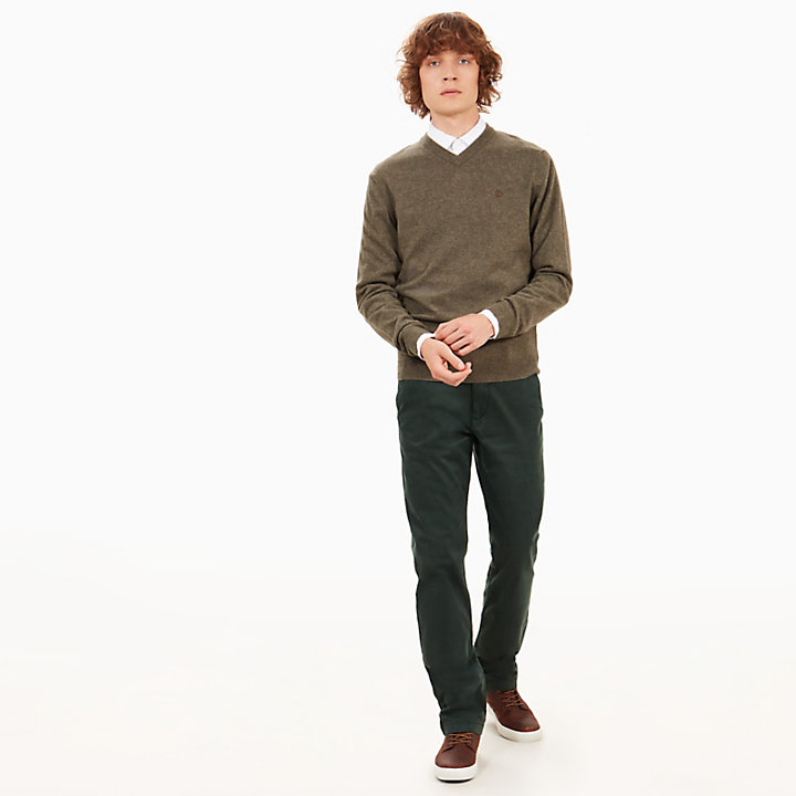 Merino V-Neck Sweater for Men in Green-
