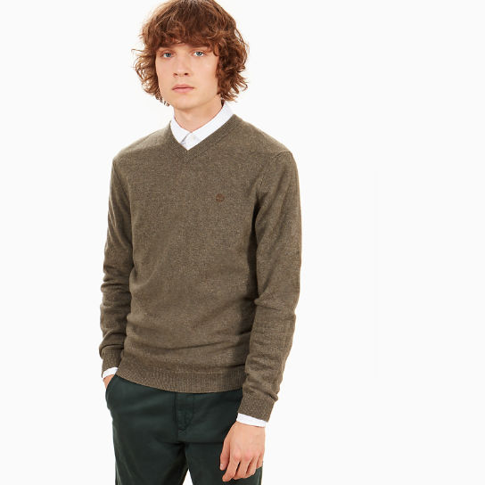 Merino V-Neck Sweater for Men in Green | Timberland