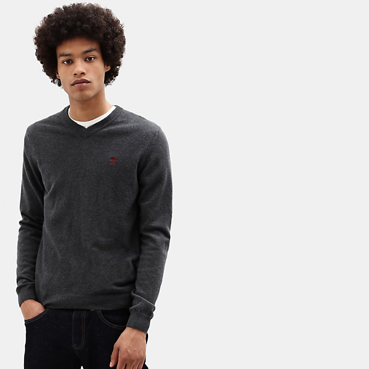 Merino V Neck Sweater for Men in Dark Grey-