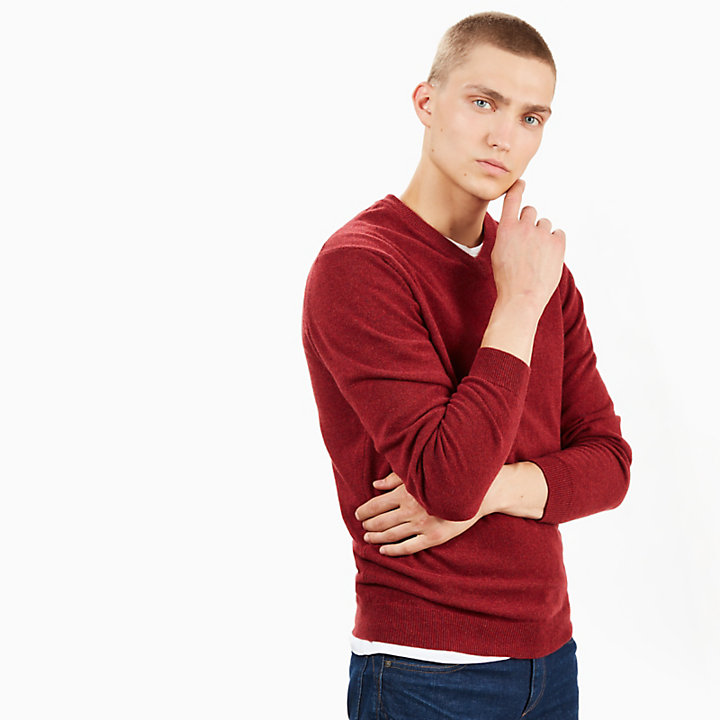 Merino V-Neck Sweater for Men in Red-