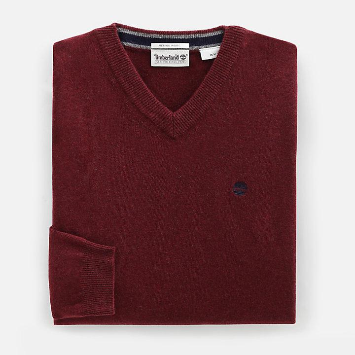 Pull à col en V en laine mérinos pour homme en rouge-