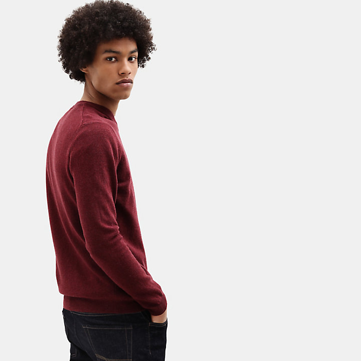 Merino V Neck Sweater for Men in Red-