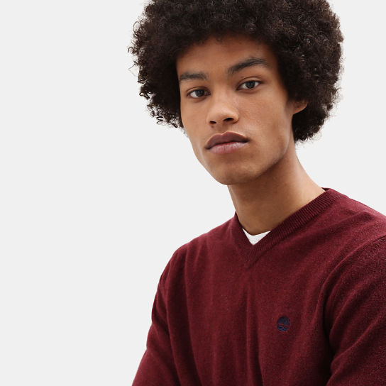 Merino V Neck Sweater for Men in Red | Timberland