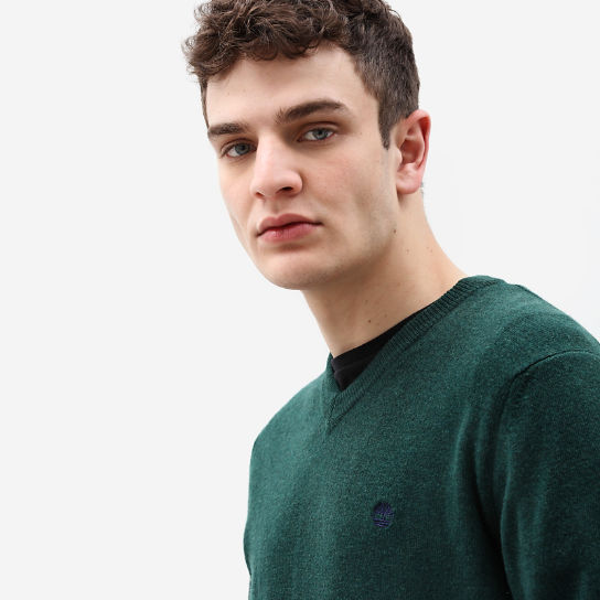 Merino V Neck Sweater for Men in Green | Timberland