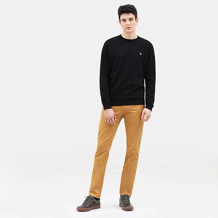 Merino Crew Neck Sweater for Men in Black-