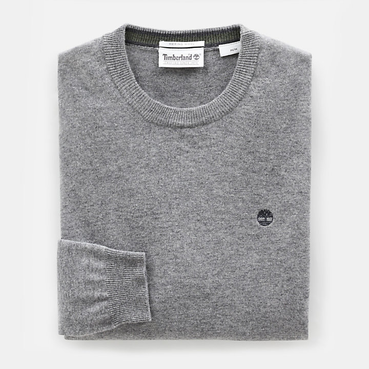 Merino Crew Neck Sweater for Men in Grey-