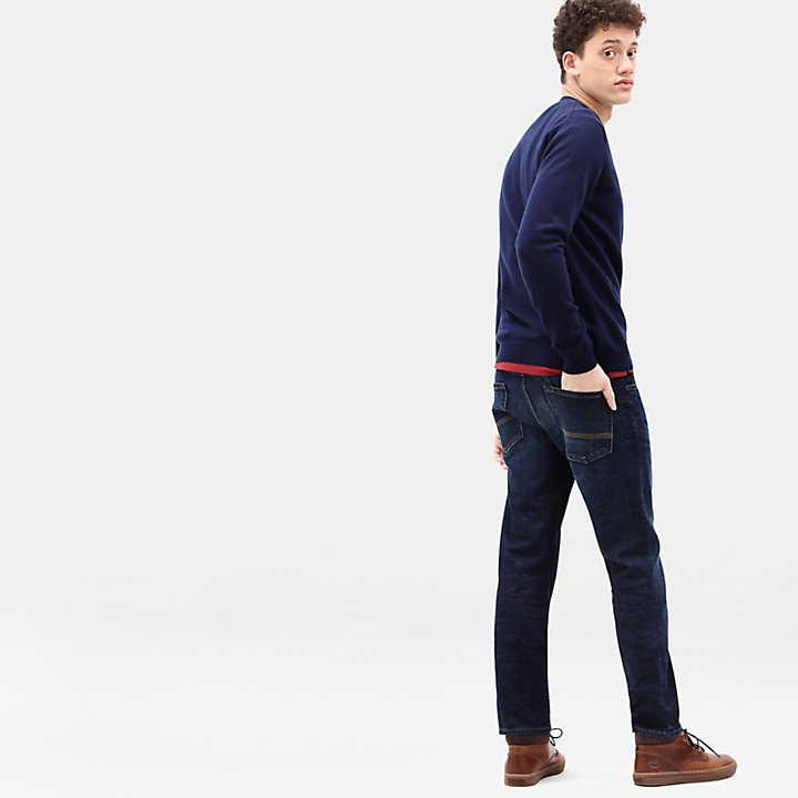 Merino Crew Neck Sweater for Men in Navy-