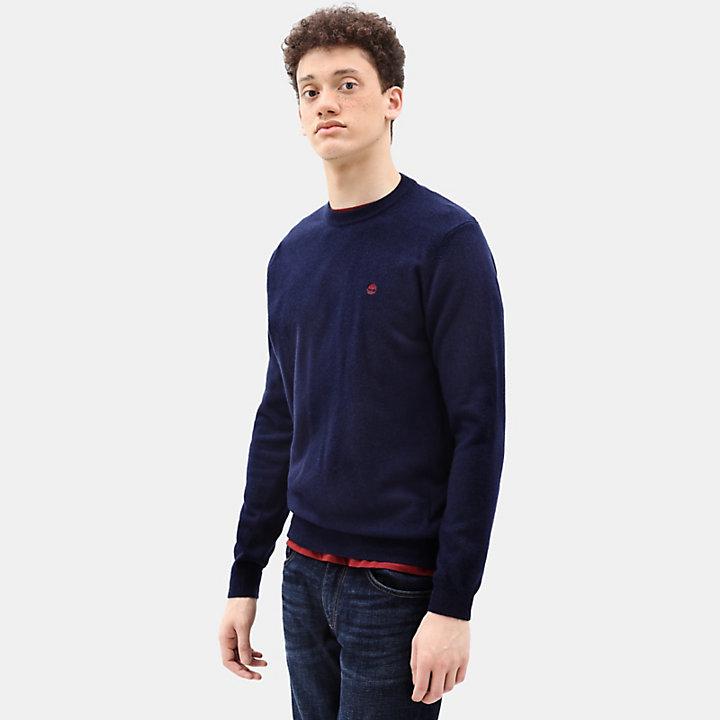 Jersey de Cuello Redondo en Lana Merina para Hombre en azul marino-