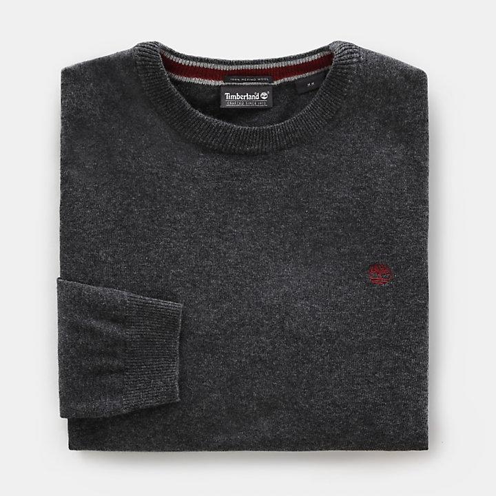 Jersey de Cuello Redondo en Lana Merina para Hombre en gris oscuro-