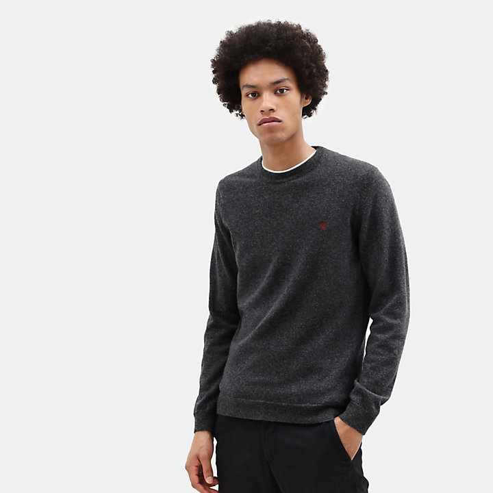 Merino Crew Neck Sweater for Men in Dark Grey-