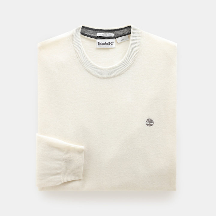 Merino Crew Neck Sweater voor Heren in crème-