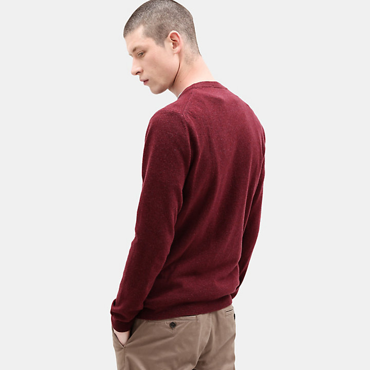 Merino Crew Neck Sweater for Men in Red-