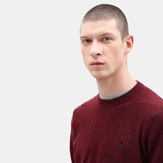 Merino Crew Neck Sweater for Men in Red | Timberland
