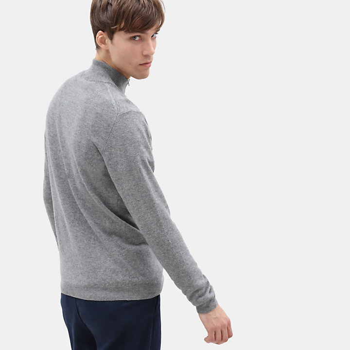 Cohas Brook Merino Zip Sweater for Men in Light Grey-