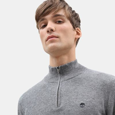 Cohas+Brook+Merino+Zip+Sweater+for+Men+in+Light+Grey