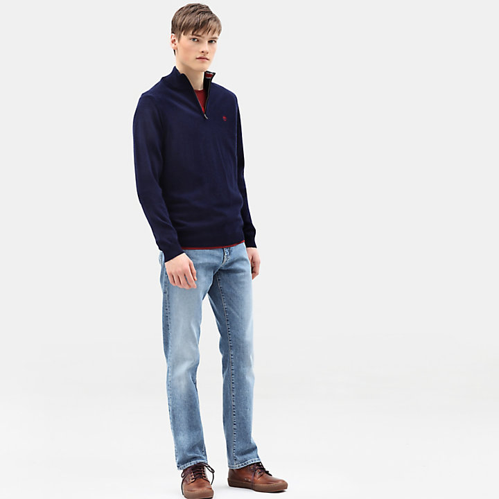 Cohas Brook Merino Zip Sweater for Men in Navy-