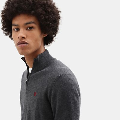 Merino+Half+Zip+Sweater+for+Men+in+Dark+Grey