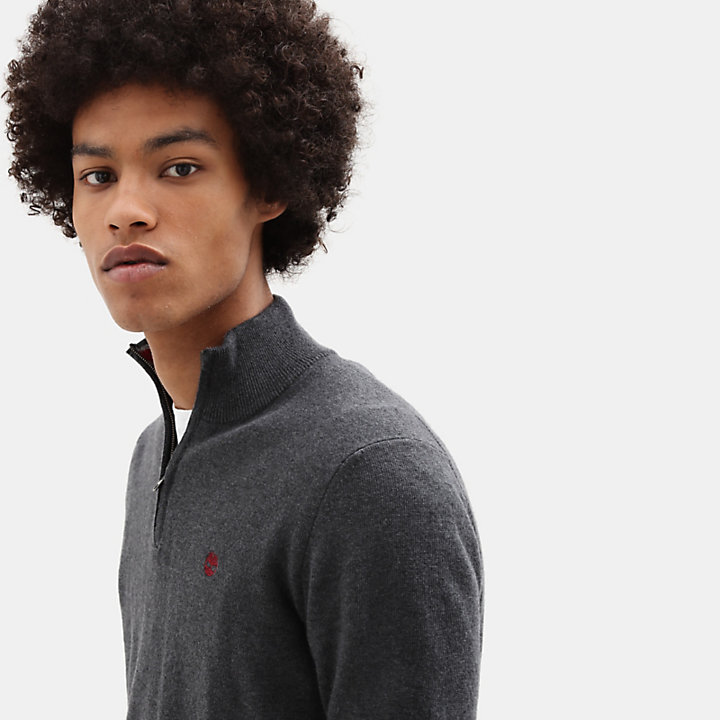 Cohas Brook Merino Zip Sweater for Men in Dark Grey-
