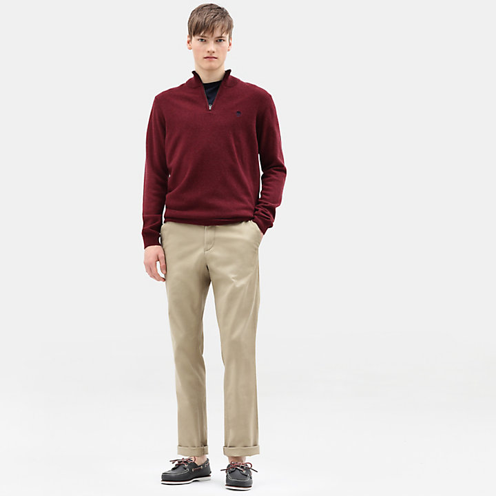 Cohas Brook Merino Zip Sweater for Men in Dark Red-