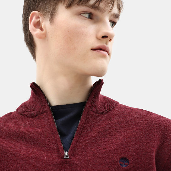 Cohas Brook Merino Zip Sweater for Men in Dark Red | Timberland