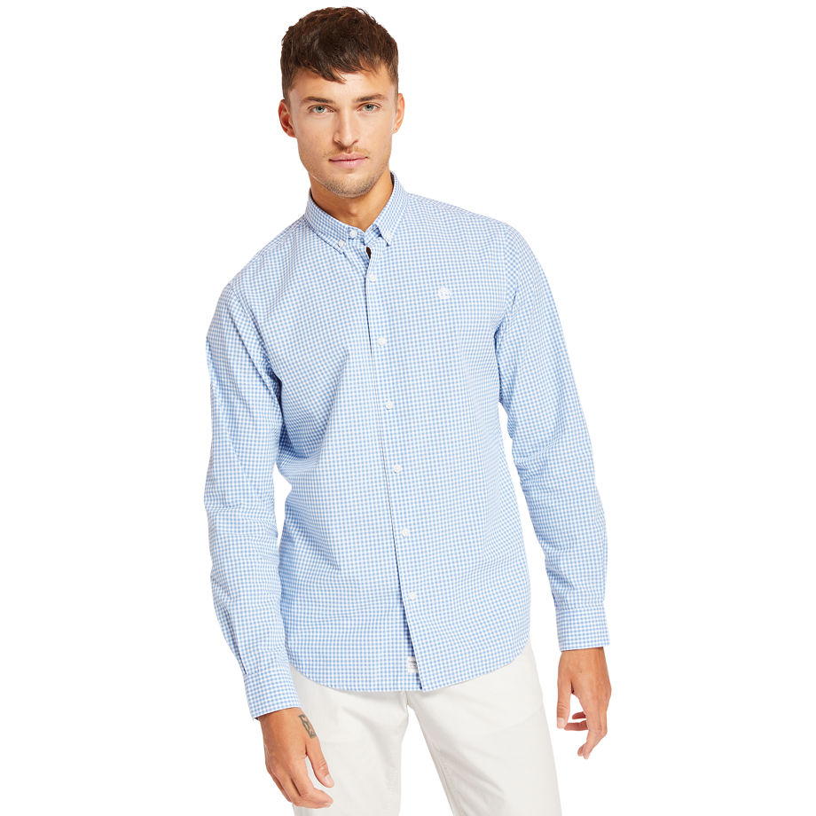 Timberland Suncook River Gingham Shirt For Men In Blue Blue, Size S