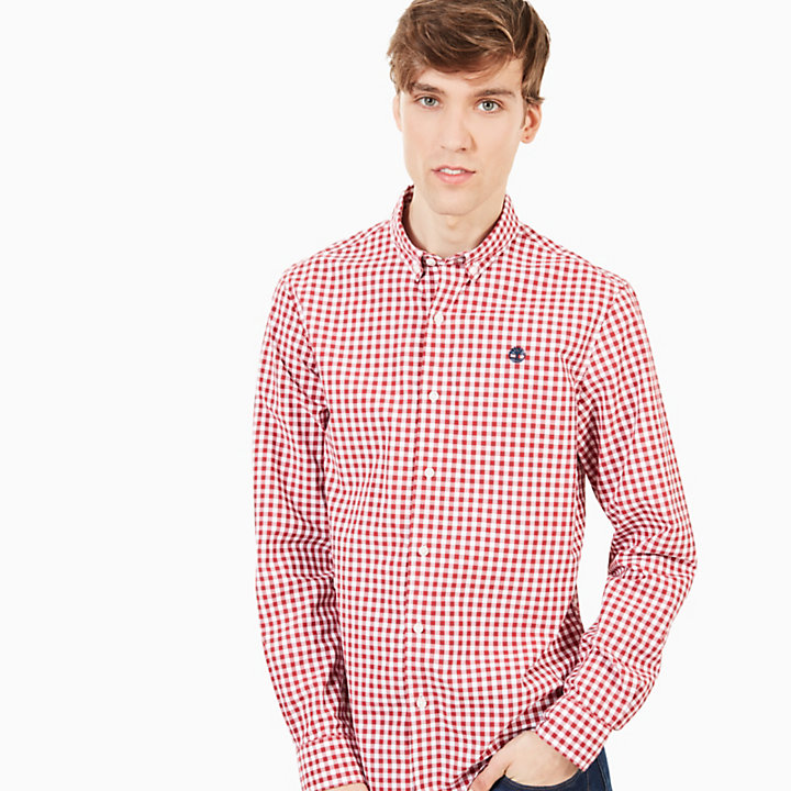 Suncook River Macro Gingham Shirt for Men in Red-