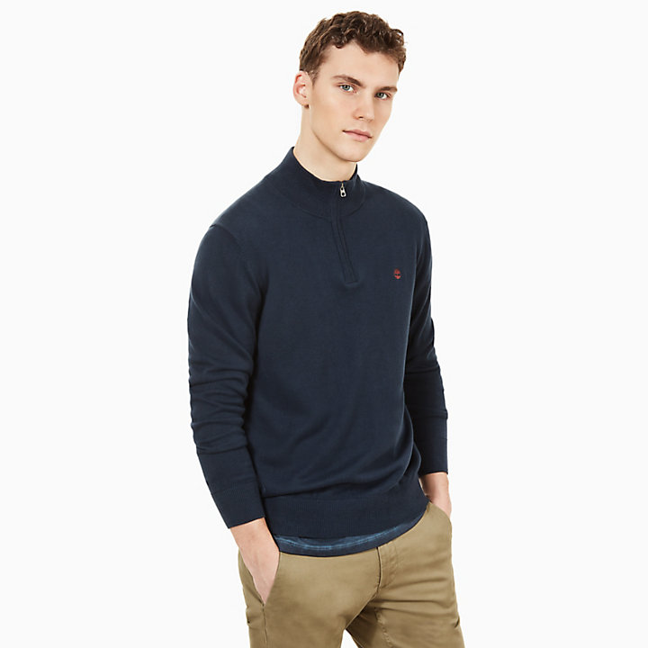 Williams River Zip Sweater for Men in Navy-