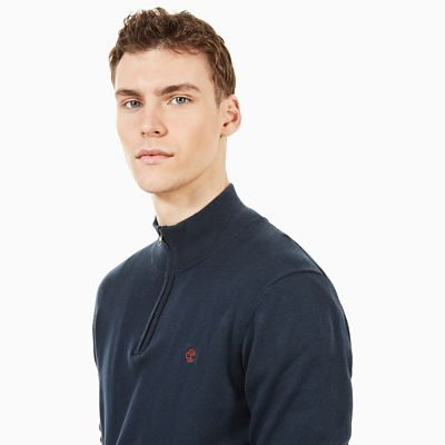 Williams+River+Zip+Sweater+voor+Heren+in+Marineblauw