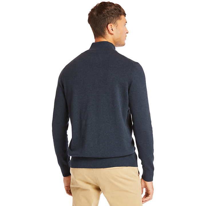 Pull demi-zip Williams River pour homme en bleu marine-