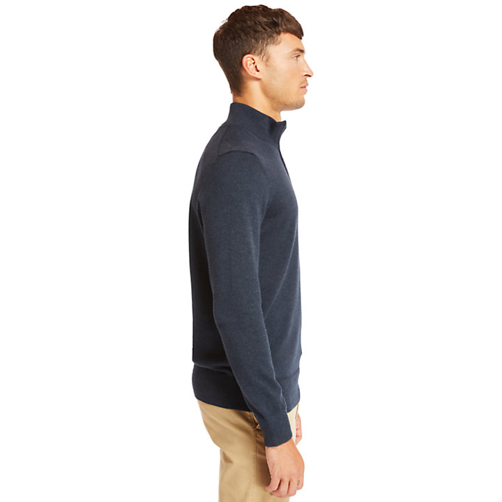 Williams River Half Zip Sweater for Men in Navy-