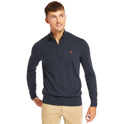 Williams+River+Half+Zip+Sweater+for+Men+in+Navy