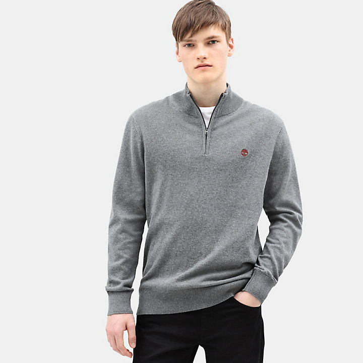 Williams River Half Zip Sweater for Men in Dark Grey-