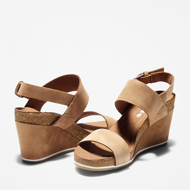 Capri Sunset Wedge Sandal for Women in Light Brown-